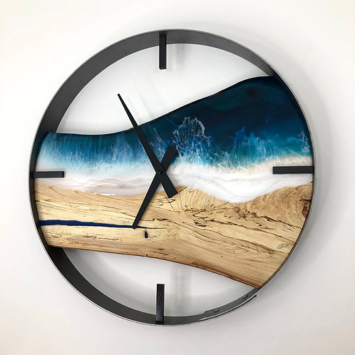 """18"""" Life's a Beach Spalted Maple Wood Wall Clock"""