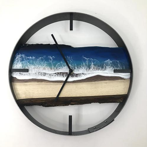 "14"" Life's a Beach Live Edge Walnut Wood Wall Clock"