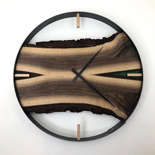 """21"""" Black Walnut Wood Clock ft. Jungle Green Epoxy Inlay"""