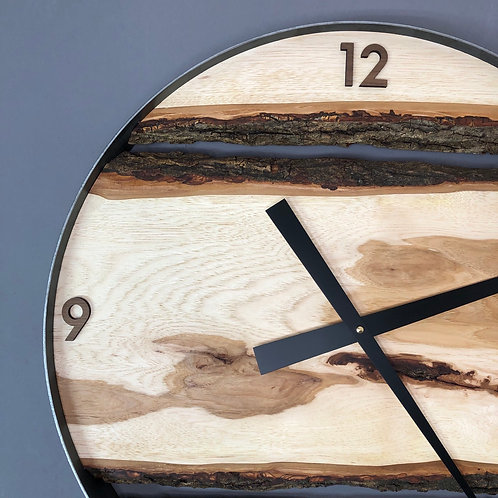 "21"" Maple Live Edge Clock ft. Walnut Numbers"