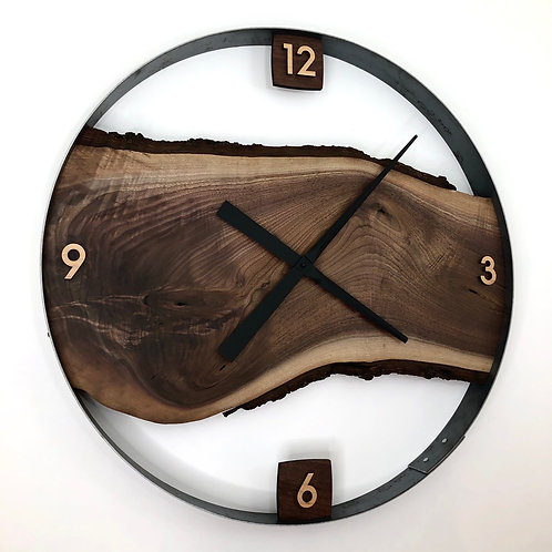 """Reserved for CR // 25"""" Black Walnut Live Edge Wood Wall Clock"""