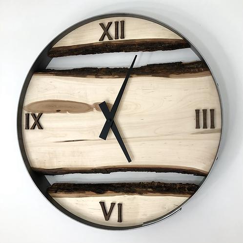 "18"" Maple Triple Live Edge Wood Wall Clock"
