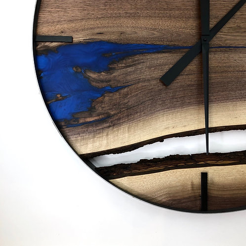"30"" Black Walnut Triple Live Edge Wood Clock ft. Blue Epoxy Inlay"