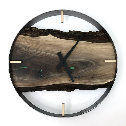 "18"" Black Walnut Live Edge Wood Clock ft. Green Epoxy Inlay"
