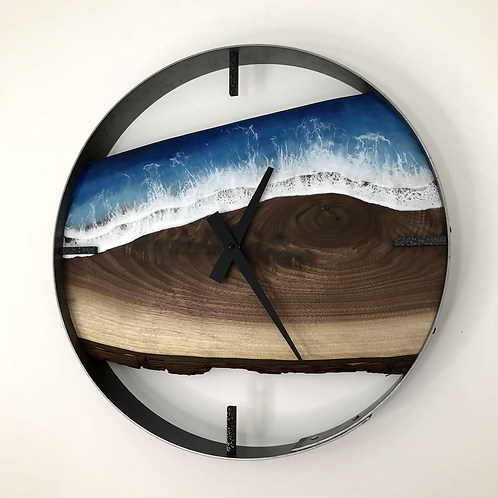 """RESERVED FOR H // 18"""" Life's a Beach Walnut Wood Wall Clock"""