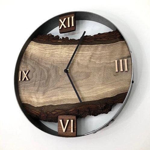 """14"""" Black Walnut Live Edge Wood Clock"""