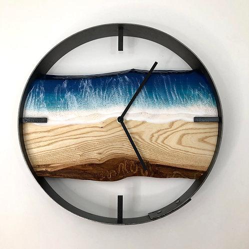 "14"" Life's a Beach Live Edge Ash Wood Wall Clock"