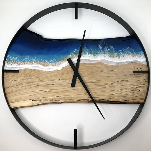 """34"""" Spalted Maple Life's A Beach Live Edge Wood Clock"""