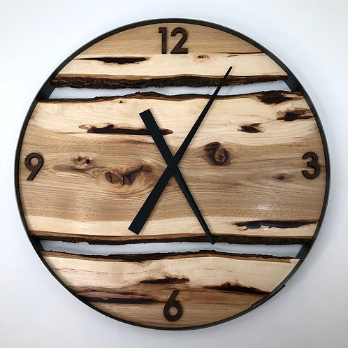 """25"""" Maple Live Edge clock ft. Deep Red Resin Inlay"""