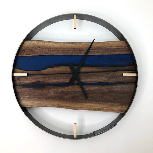 "18"" Black Walnut Live Edge Wood Clock ft. Blue Epoxy Inlay"