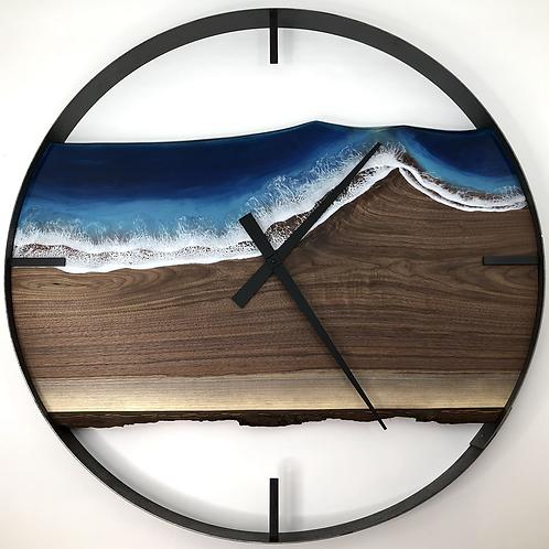 "34"" Black Walnut Life's A Beach Live Edge Wood Clock"