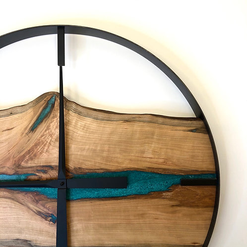 "25"" Cherry Live Edge Wood Clock ft. Teal Epoxy Inlay"