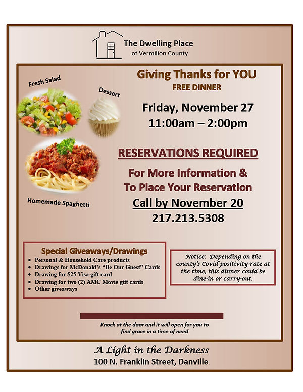 Giving Thanks dinner November 2020 Flyer