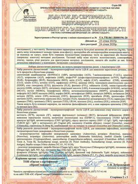 Додаток до сертифікату