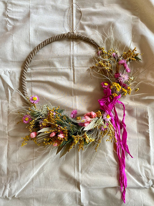 Dried Spring Wreath With Side Ribbon Detail