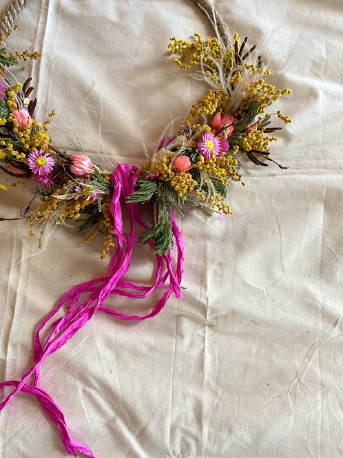Dried Spring Wreath With  Ribbon
