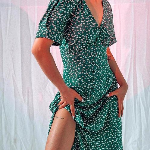 Платье Миди С Рукавами-крылышками