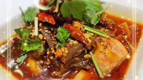 家鴨の血豆腐とモツの煮込み