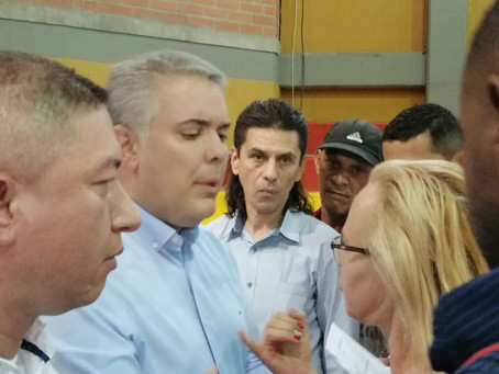 Colombian President Ivan Duque talk with Kate to discuss our Sacha Inchi project in Colombia