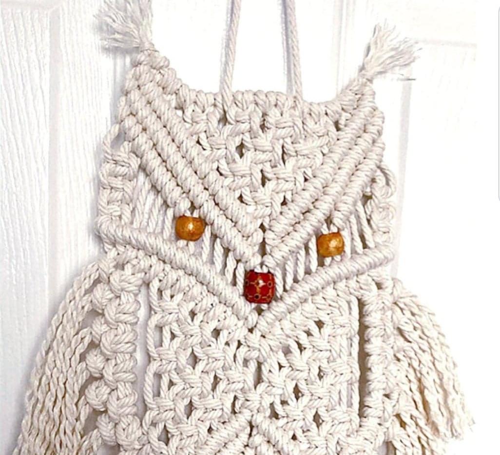 Owl in Cream on Perch