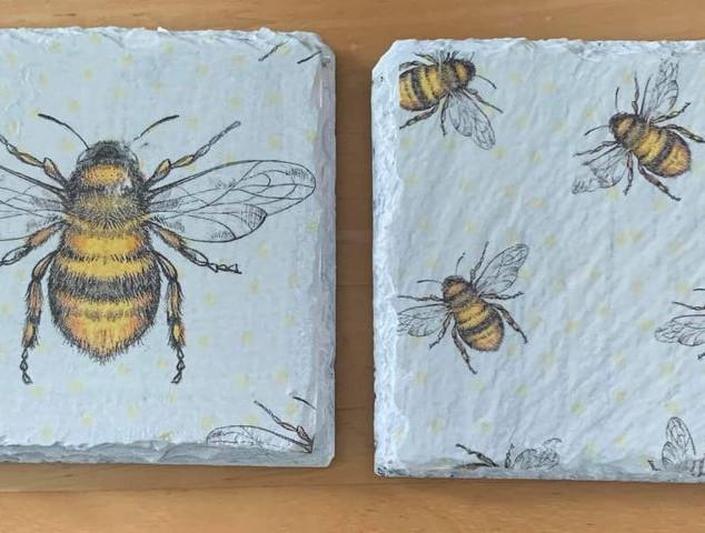 Bee Slate Coasters Hand Painted