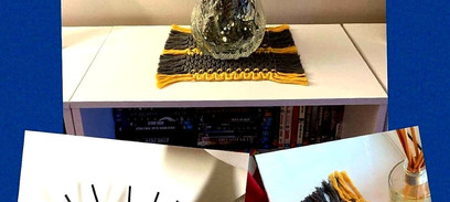 Greyand Mustard Table Mat / Furniture Protector