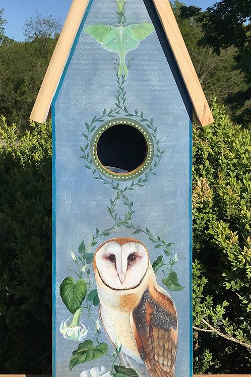 Owl, Moon Flowers, Luna Moth Birdhouse
