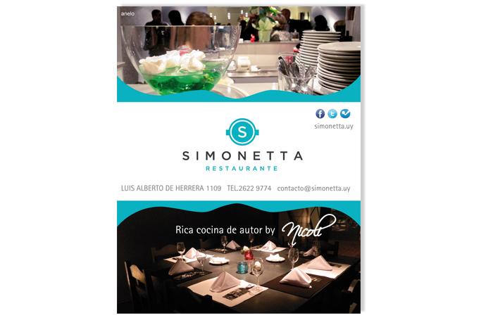Restaurante Simonetta. Aviso prensa.