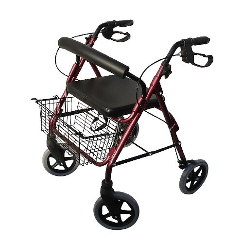Andador con asiento, 4 ruedas y freno.