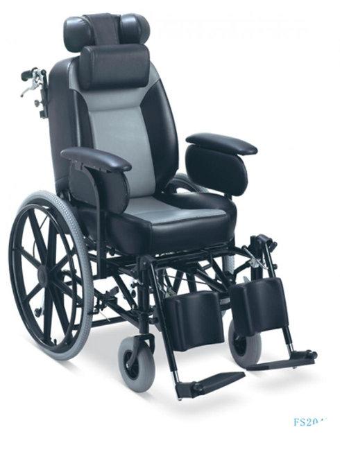 Silla de ruedas en acero, reclinable