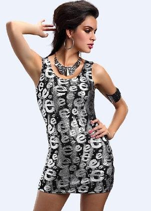 Mønstret e-kjole i sølvfarve