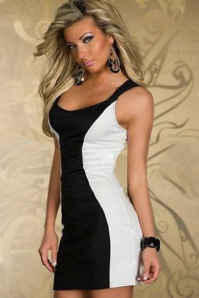 Festkjole i sort-hvid med blonderyg