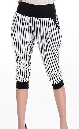 Harlem sort-hvid stribet korte leggings