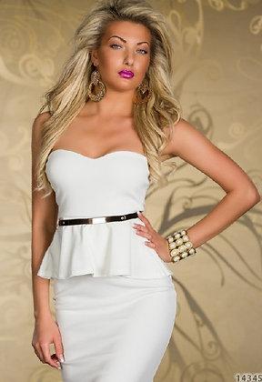 Smart hvid lårkort festkjole med sort bælte