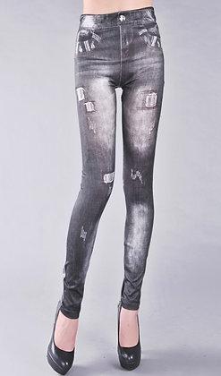 Jeans-look grå cowboy leggins