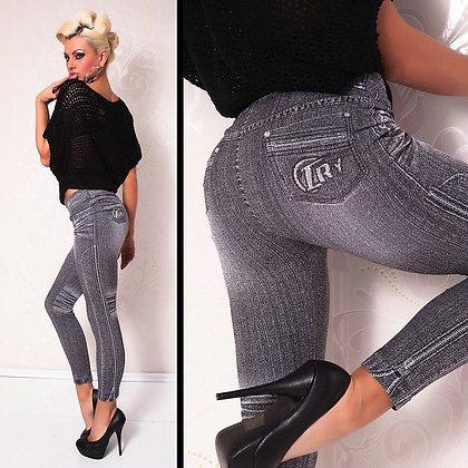 Grey Jeans-look Leggings