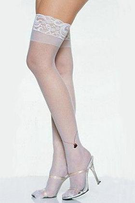 Hvide hoftestrømper med blonder og hæl