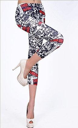 Artistic rød-sort-hvid print leggins