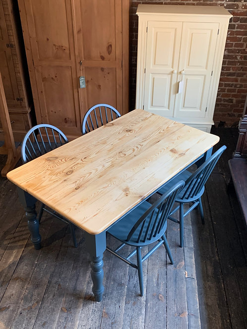 Vintage Pine Top Table and New Chairs in 'Westcote Blue'