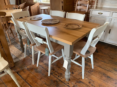 Painted Table with Character Oak Top and Painted Chairs
