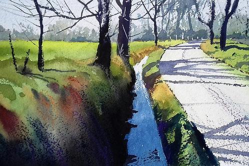 Badingham Road - Watercolour