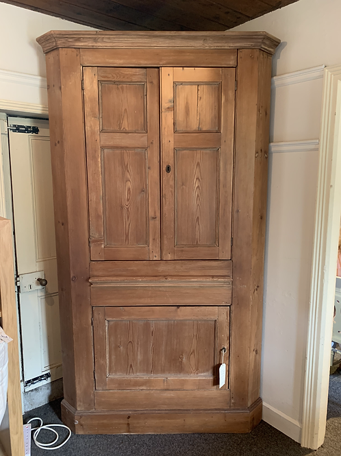 Antique Georgian Pine Corner Cupboard Front View