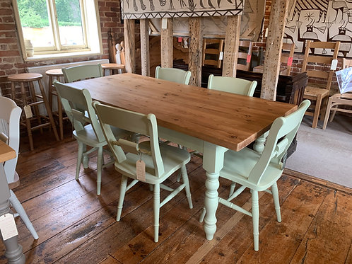 Painted Table with Reclaimed Top and Painted Chairs