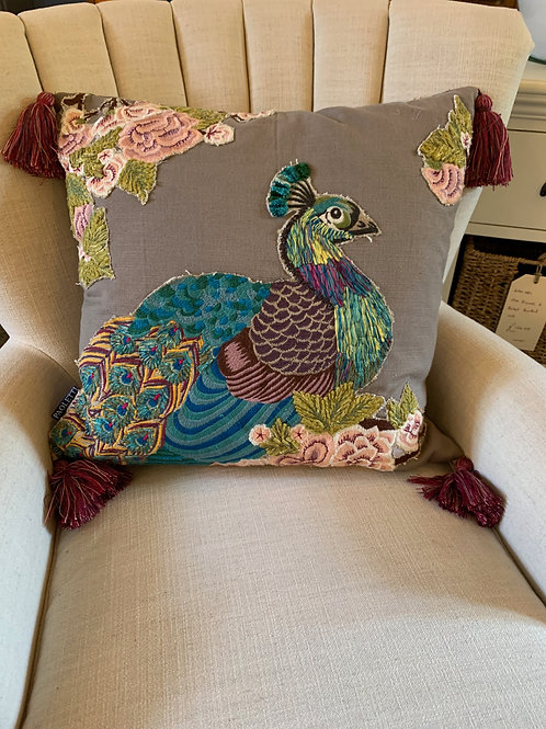 Paolettii Peacock Cushion with tassels