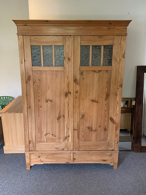 European Pine Glazed Double Wardrobe - Front View