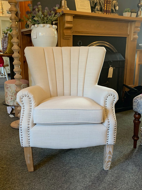 Cream Studded Arm Chair