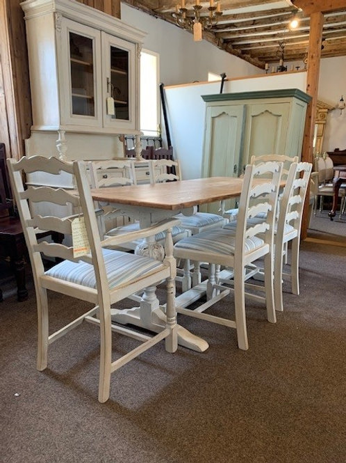 A 20th Century Oak Top Trestle Table with Bulbous Support & Chairss