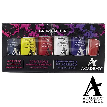 Academy Acrylic Colour Mixing Set 6pk
