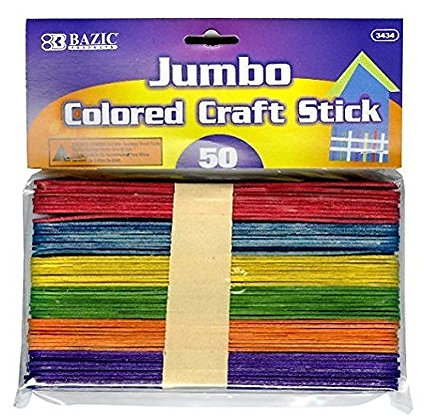 Jumbo Coloured Craft Sticks 50pc
