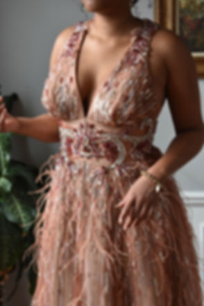 Deep V Neck Beaded Gown 1